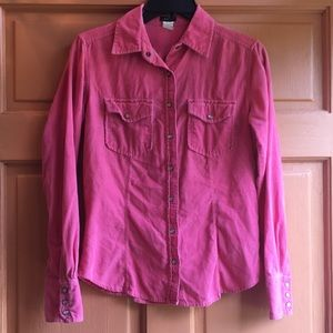 J Crew pink soft, small corded shirt
